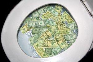 Money Going Down The Toilet